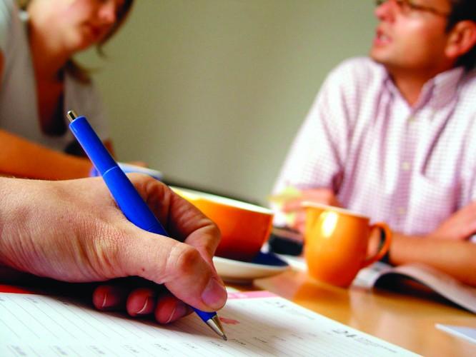 PEOPLE MEETING-WRITING